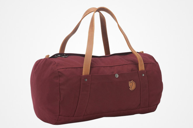 leather and waxed canvas duffel