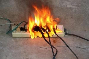 Electrical Power Strip on Fire