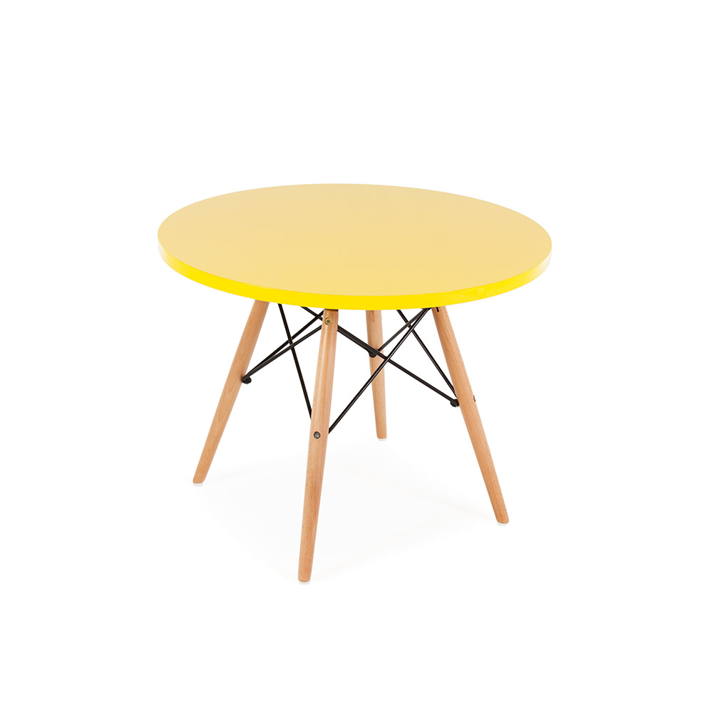 Eames style mid century modern round top dsw wood legs for Mid century round dining table