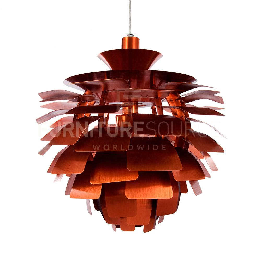 Red Artichoke Chandelier: Poul Henningsen Style Mid Century Modern Artichoke Pendant