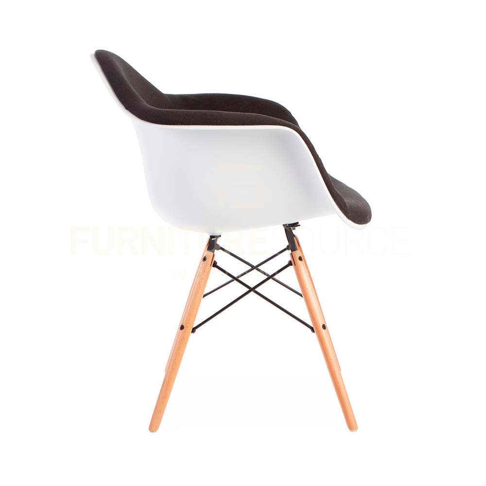 eames style molded shell daw eiffel dowel leg upholstered dining arm chair. Black Bedroom Furniture Sets. Home Design Ideas