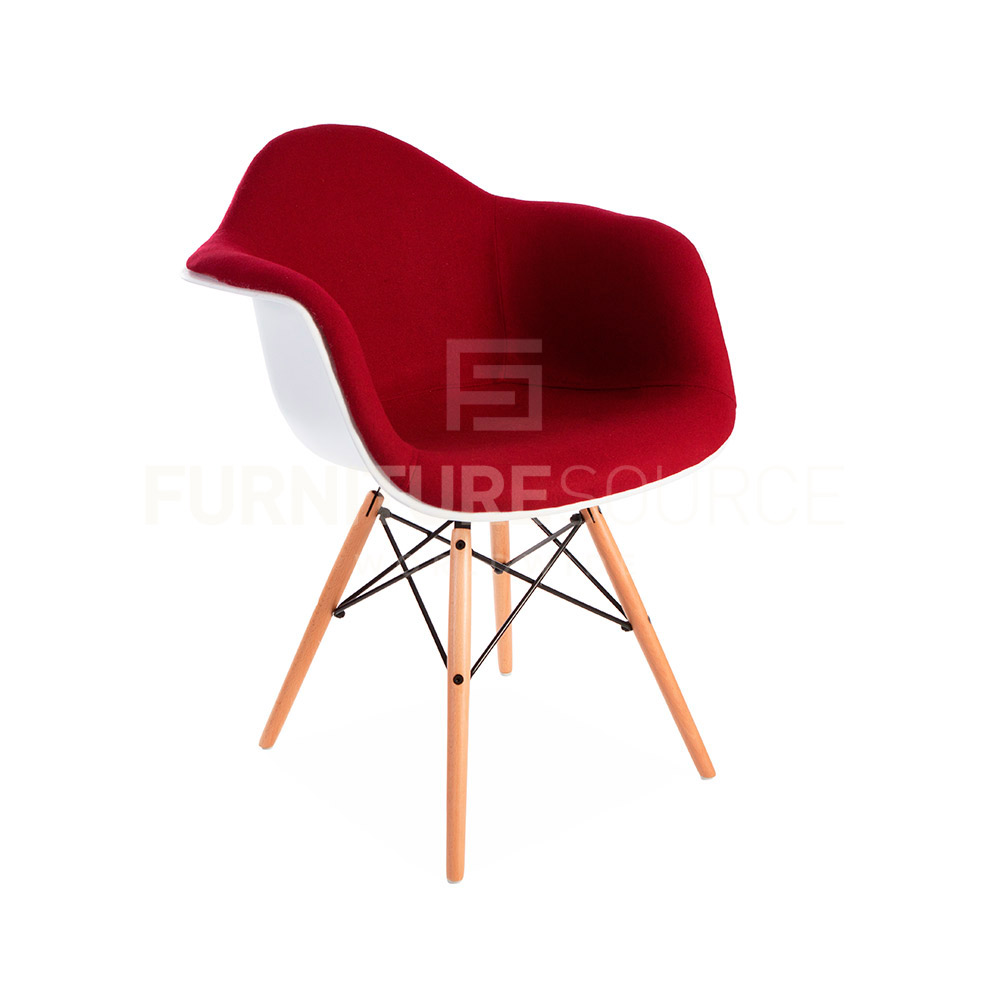 Eames Style Molded Shell DAW Eiffel Dowel Leg Upholstered  : DAW UP RED 1 from www.ebay.com size 1000 x 1000 jpeg 72kB