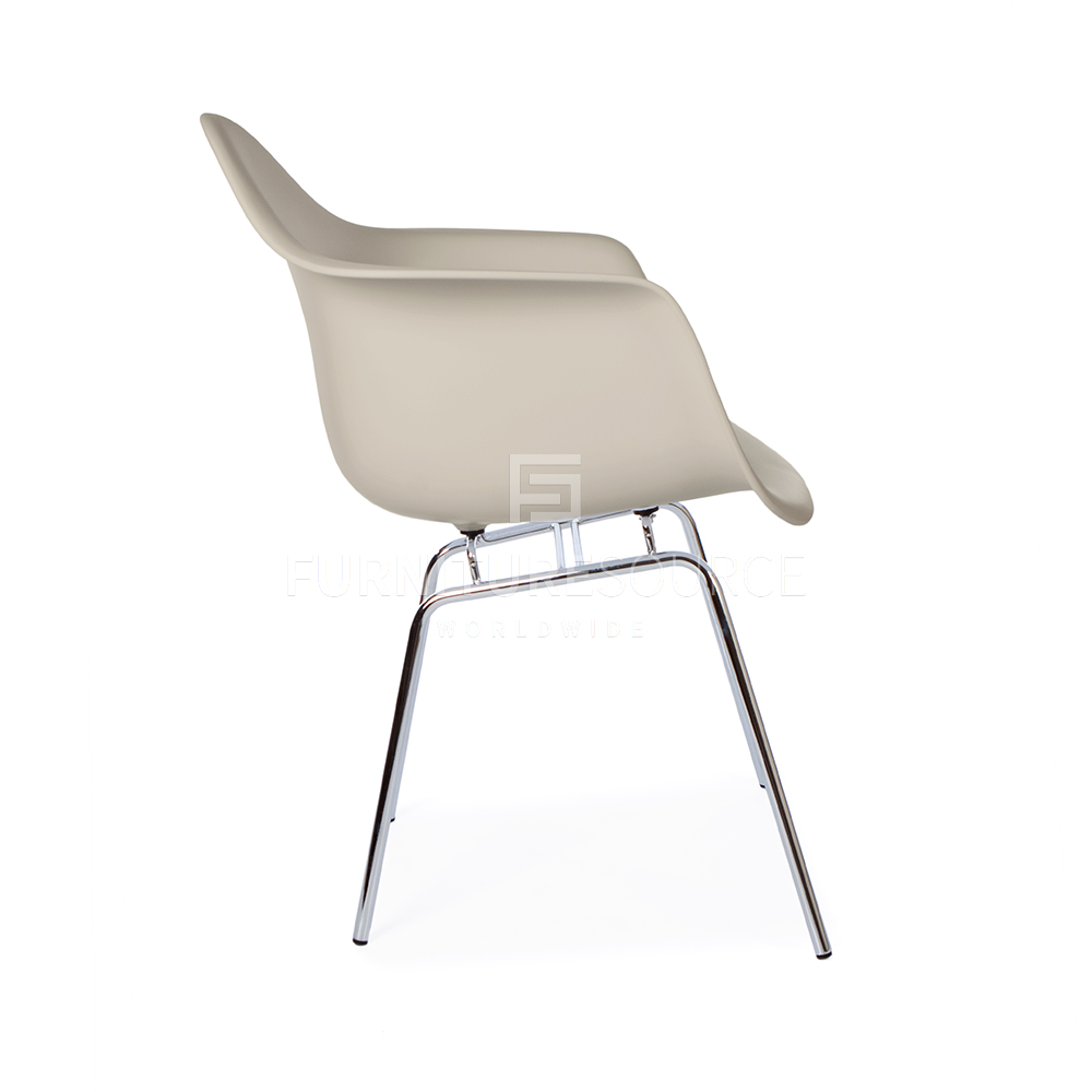 Style h base mid century modern molded plastic dining shell arm chair