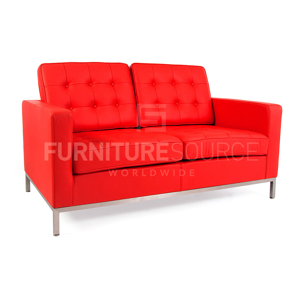 Florence knoll style midcentury modern 2 seat sofa genuine for Genuine italian leather sectional sofa