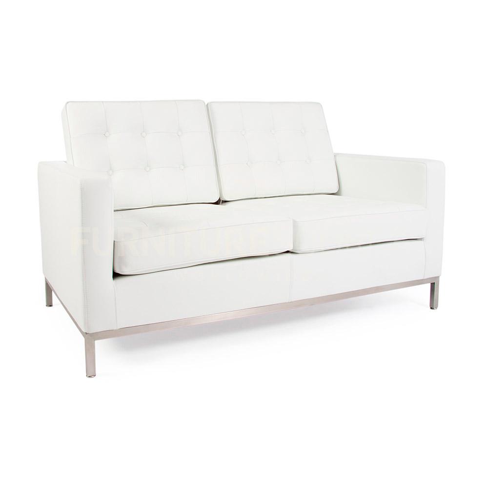 Florence Knoll Style Midcentury Modern 2 Seat Sofa Genuine Full Italian Leather Ebay