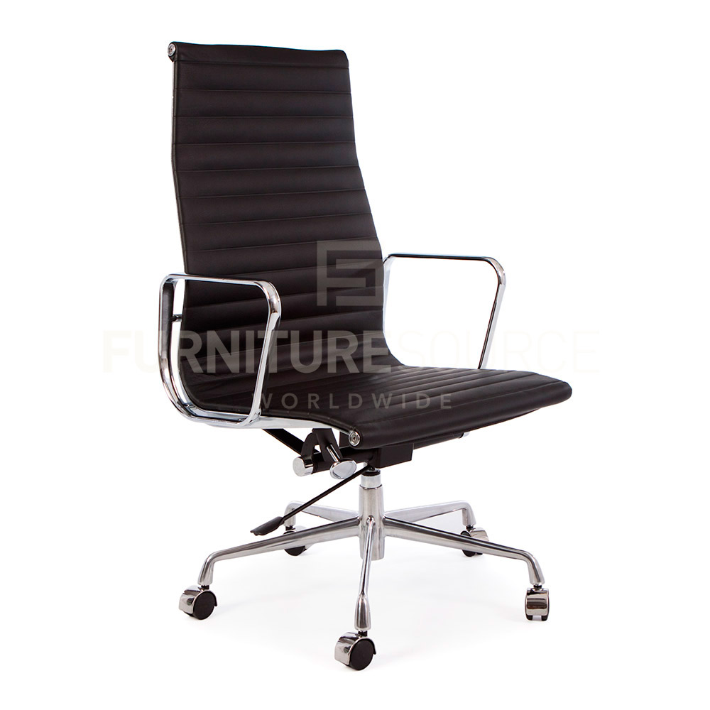 Eames Style Ribbed High Back Management Office Chair On Casters Genuine Leath