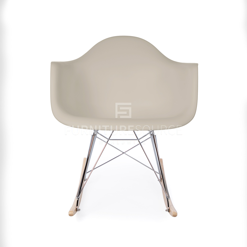 Eames rar style mid century modern molded plastic rocking for Plastic modern chairs