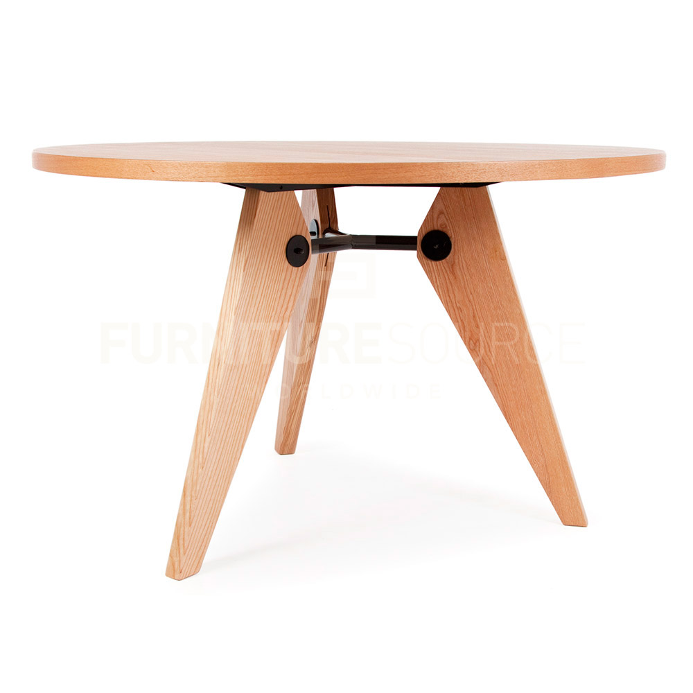 Style Mid Century Modern Round Gueridon Natural Wood Dining Table