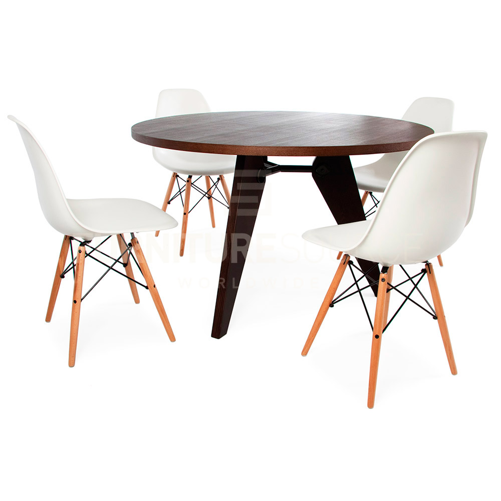jean prouve style mid century modern round gueridon natural wood dining table ebay. Black Bedroom Furniture Sets. Home Design Ideas