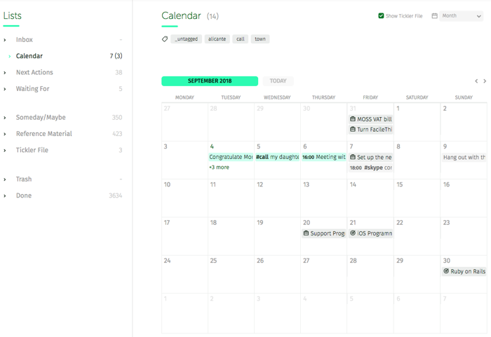 monthly view of the calendar