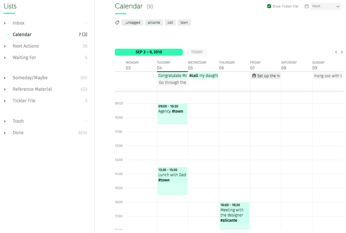 weekly view of the calendar