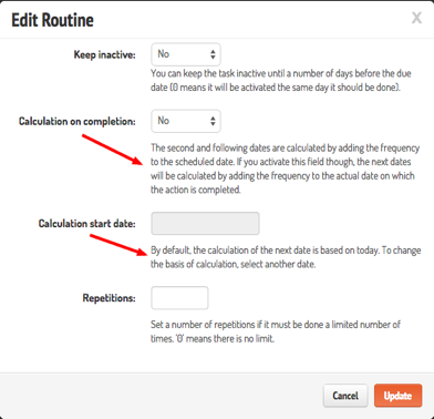 routines advanced configuration options