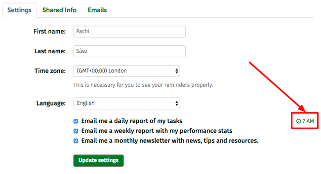 setting the daily report delivery time
