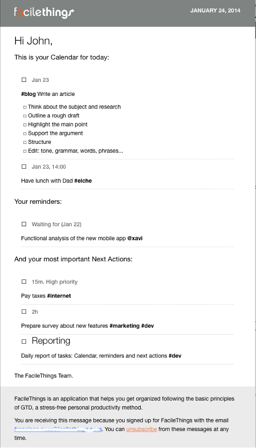 daily tasks report email