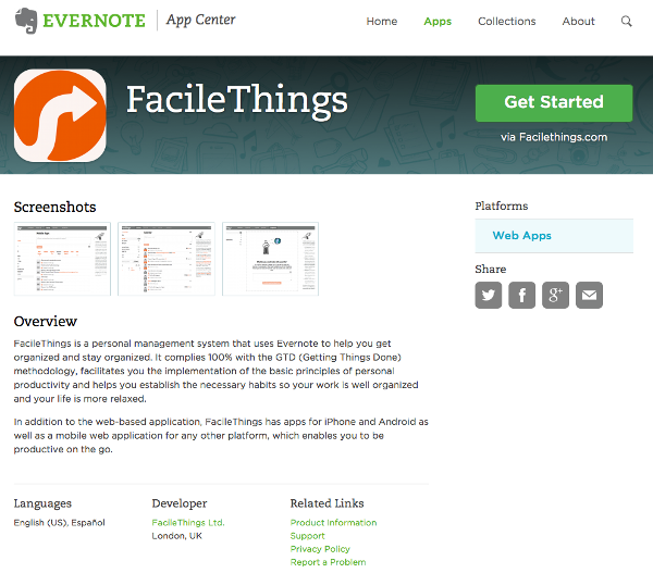 FacileThings con Evernote