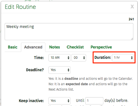 duration of routines