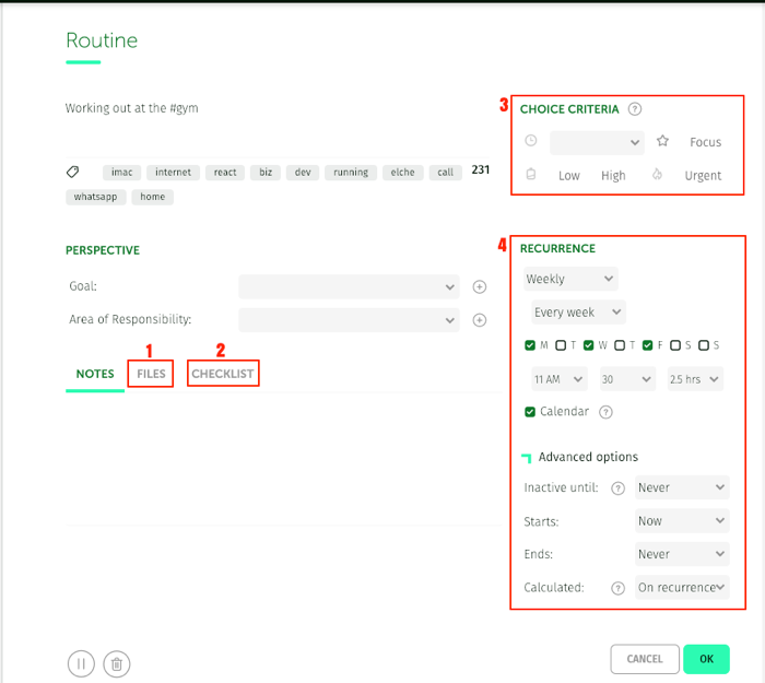 routines editor