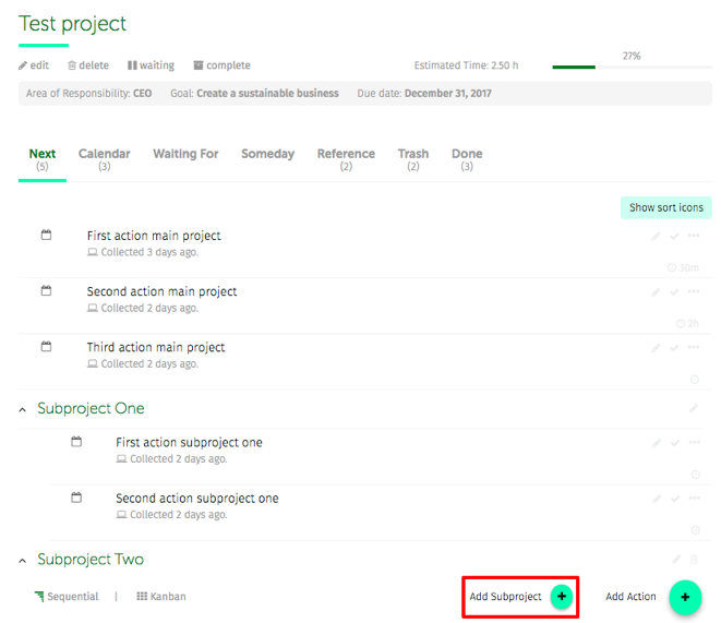 project with subprojects