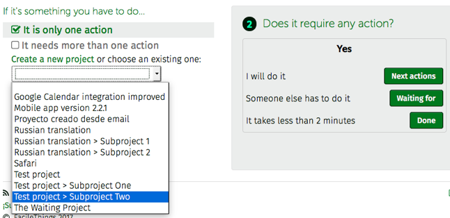 processing subproject actions