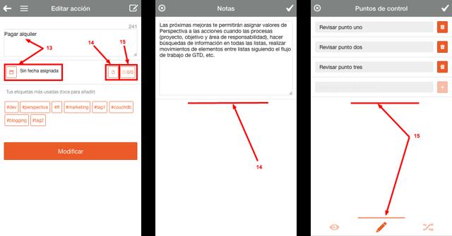editar tareas, notas y listas de control