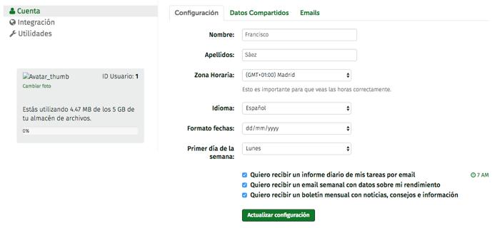 parámetros de configuración de fechas