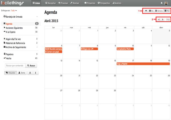 vista mensual del calendario