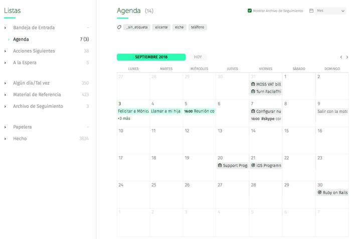 vista mensual de la agenda