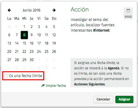asignar una fecha prevista