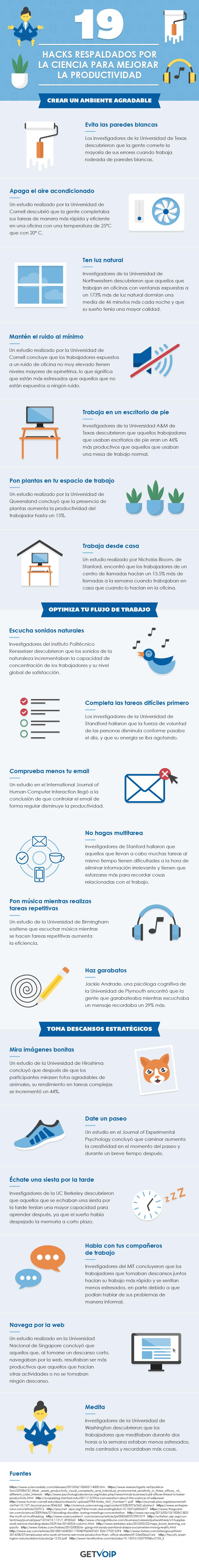 infografia 19 hacks para mejorar la productividad