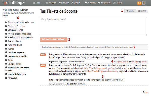 tickets de soporte