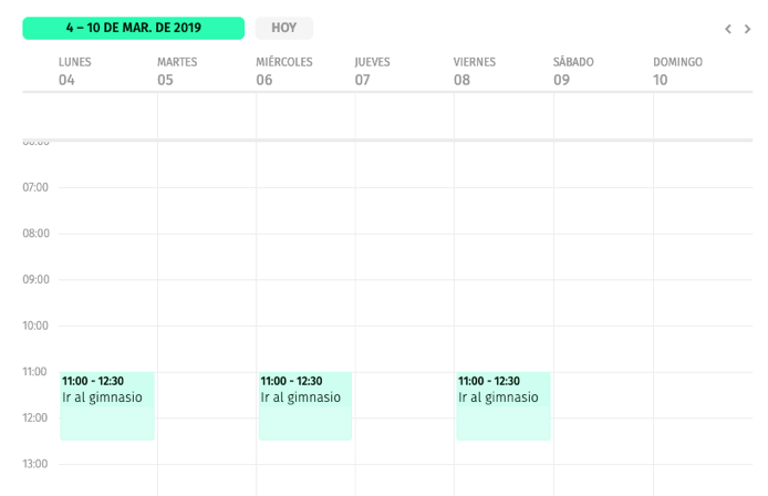 calendario semanal con rutina