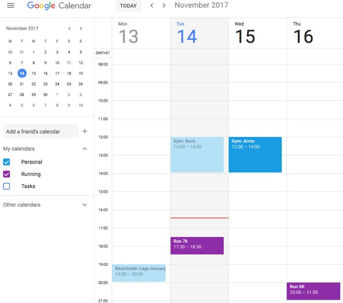 running google calendar
