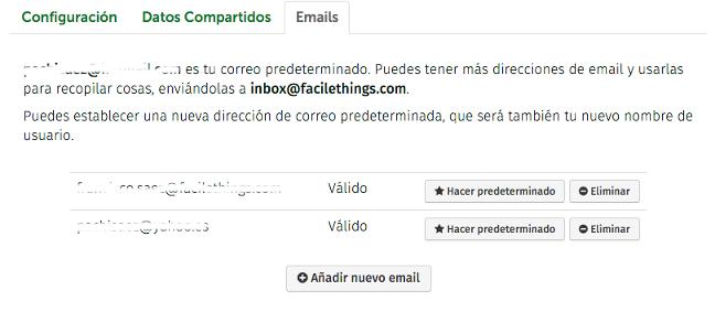configuración de emails