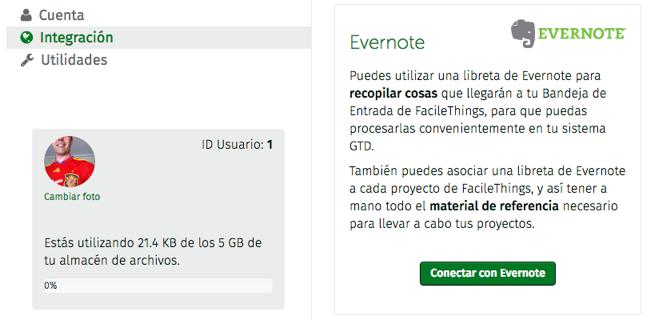 conexión con Evernote