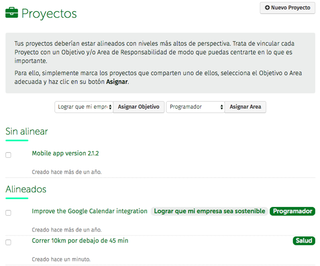 alinear proyectos