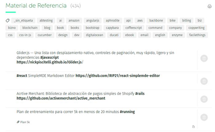 lista de material de referencia