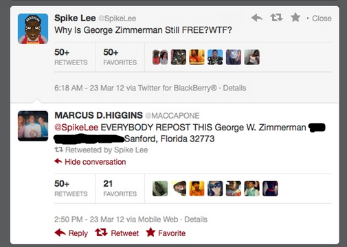 Spike Lee Zimmerman tweet