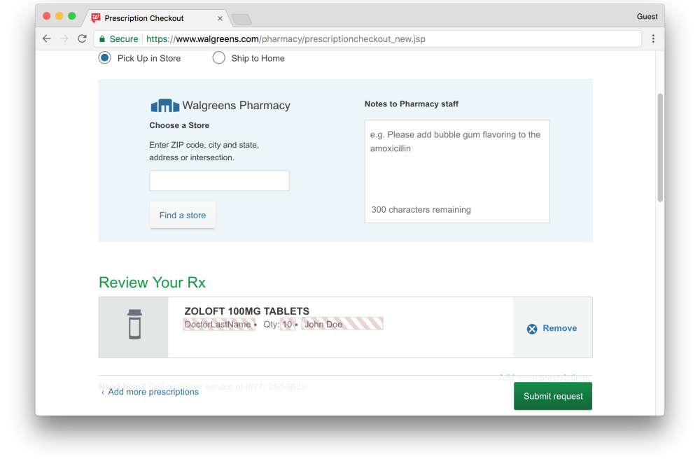 Walgreens prescription request page leaks prescription information