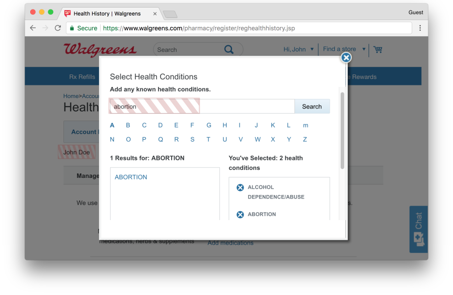 Walgreens health history page leaks health conditions