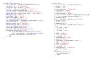 Code snippets from OnAudience (left) and Adthink (right) that are responsible for the injection of invisible login forms.