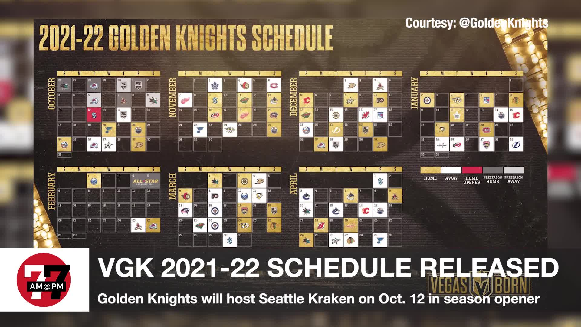 7@7PM VGK 2021-22 Schedule Released