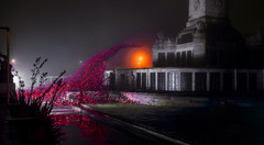 The memorial to the fallen with ceramic poppy sculpture. Plymouth Hoe, UK.
