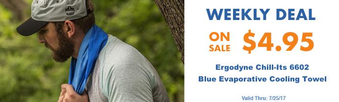 Weekly Deal - Ergodyne 6602 Blue Cooling Towel: $4.95 - Valid Thru 7/25