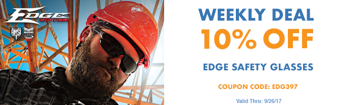 Weekly Deal - Edge Safety Glasses on Sale - Valid Thru 9/26