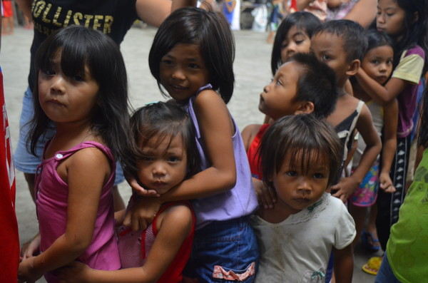 Children lining up for food. This picture was taken during the feeding that we did in a slum area in Davao City, Philippines.