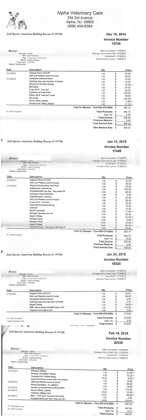 Some of Bowser's Vet Bills