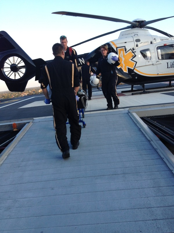Airlifted from L.U. to VCU hospital