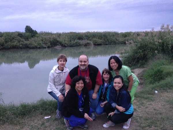 Missionaries and The Rio Grande River.  That is Mexico on the other side.
