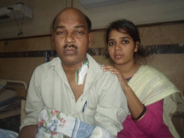 Mr. Raza with his daughter in Hospital