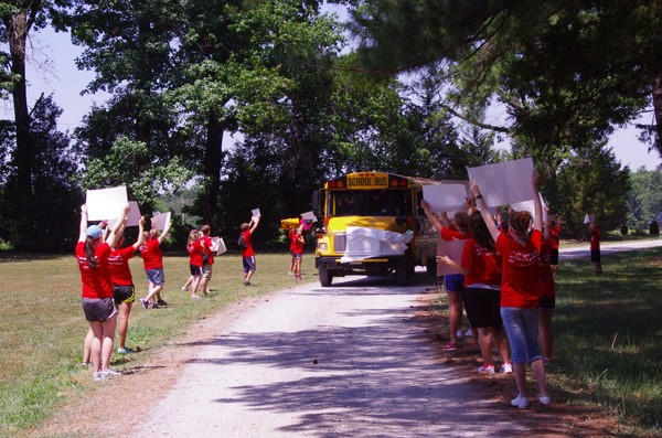 RFK Campers being welcomed the first day of camp!